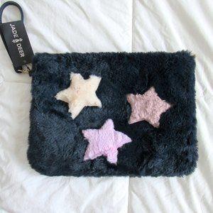 Star Design Soft Wristlet Zipped Bag Pouch Plush